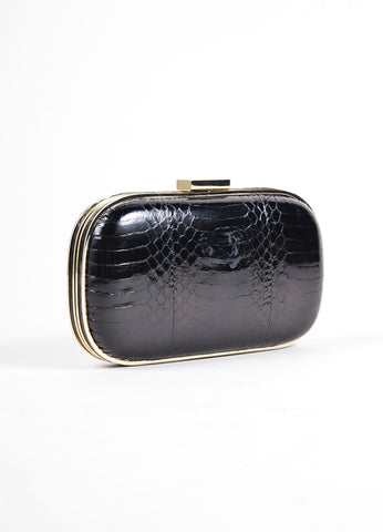 "Anya Hindmarch Black Snakeskin Leather ""Marano"" Hard Case Oval Clutch Bag Sideview"