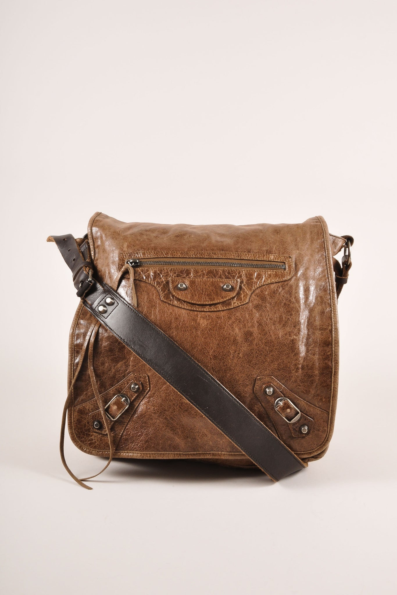 Balenciaga Brown Distressed Leather Messenger Bag Frontview