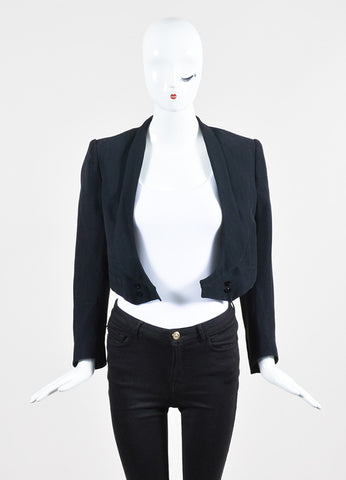Black Balmain Cotton Blend Metallic Pinstripe Double Breasted Crop Jacket Frontview