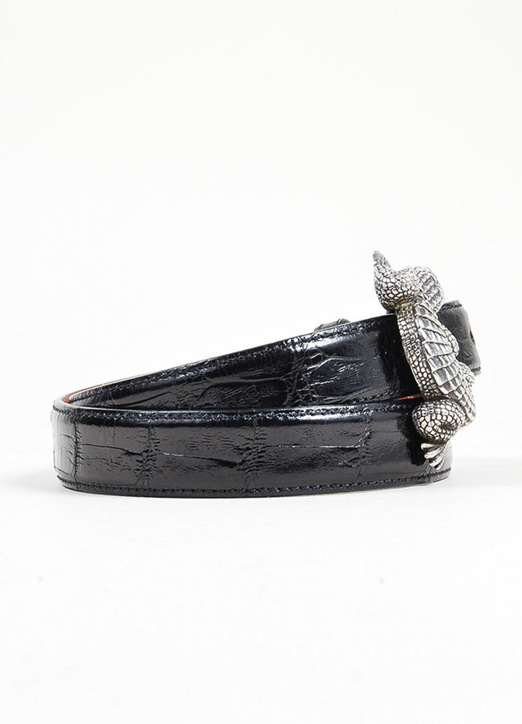 Barry Kieselstein-Cord Brown and Black Interchangeable Strap Alligator Buckle Belt Sideview