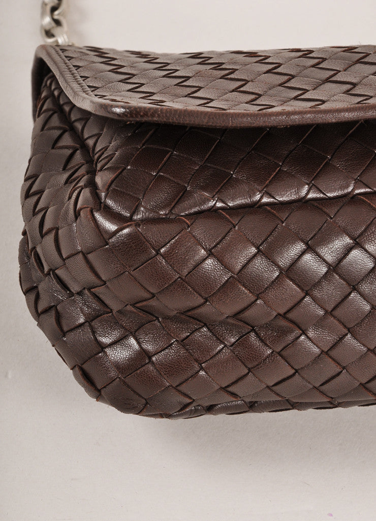 Bottega Veneta Brown Leather Silver Toned Chain Link Woven Small Shoulder Bag Detail