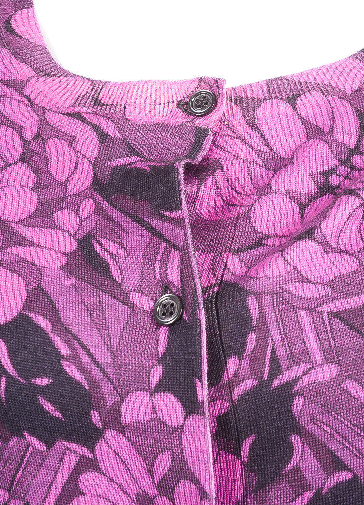 Bottega Veneta New With Tags Black and Purple Cashmere and Silk Floral Print Cardigan Detail