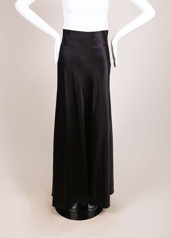 Calvin Klein Black Silk Blend Full Length Skirt Frontview