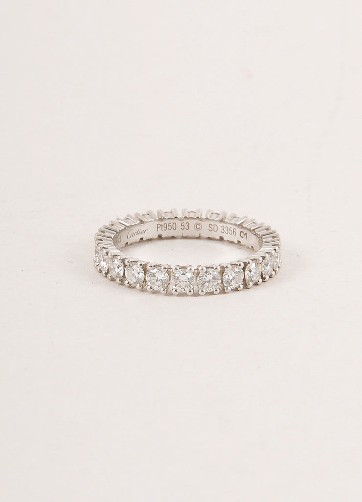 "Cartier 1.5 Carat Diamond and Platinum ""Eternity"" Band Ring Frontview"