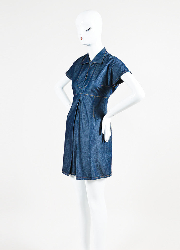 Carven Blue Denim Keyhole Pleated Fit and Flare Short Sleeve Dress Sideview