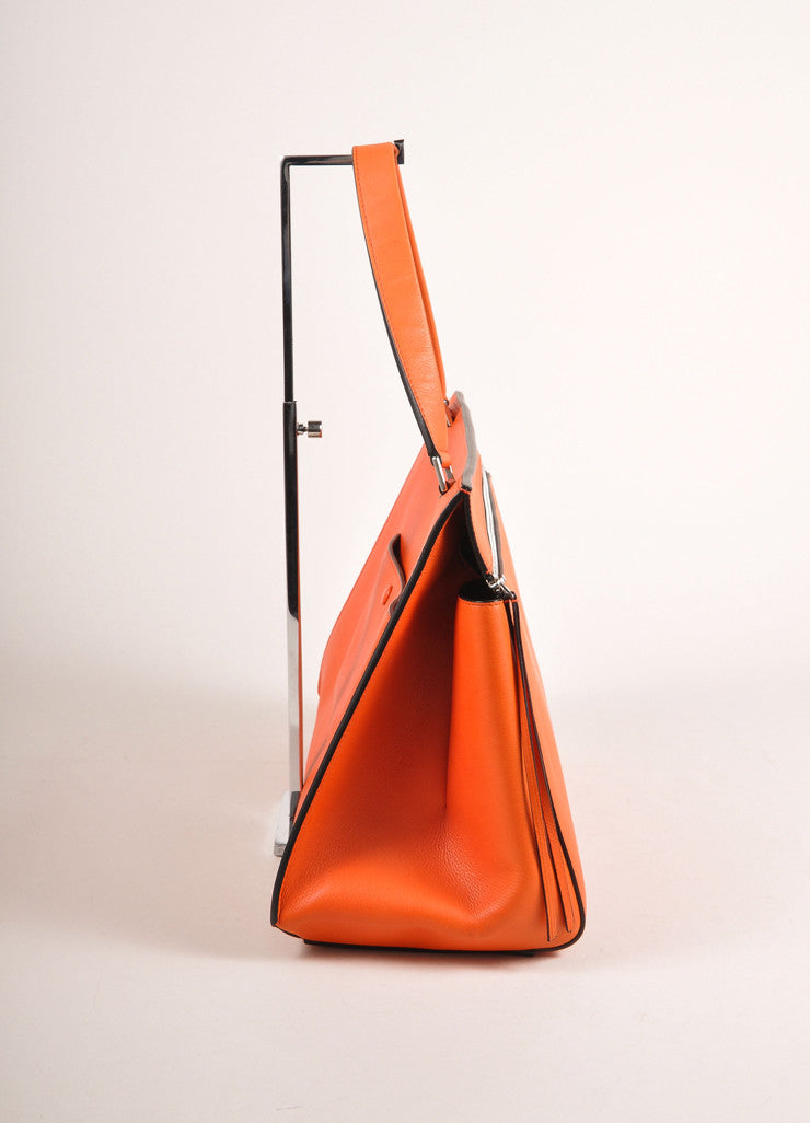 "Celine Orange ""Vermillion"" Leather Structured Large ""Edge"" Tote Bag Sideview"