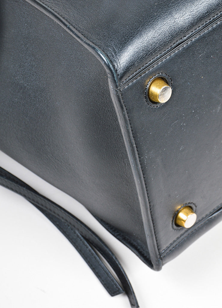 "Black Leather Celine ""Small Ring"" Zip Winged Satchel Bag Detail"