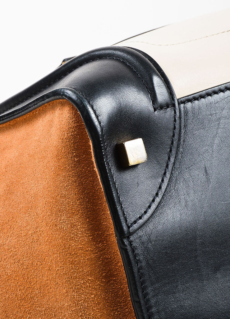 "Celine Black, Tan, and Beige Leather and Suede Winged ""Mini Luggage Tote"" Handbag Detail"