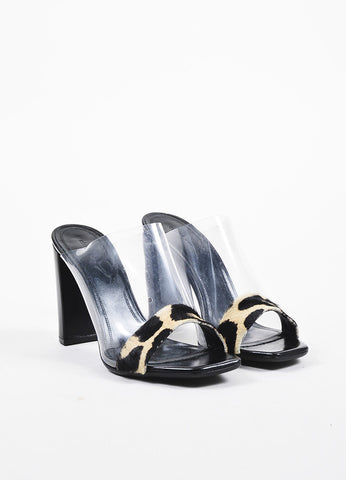 Celine Clear, Black, and Beige Pony Hair, Leather, and PVC High Heel Mule Sandals Frontview