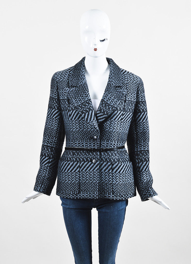 Chanel Fall 2000 Black Gray Wool Tweed Patterned Belted LS Sweater Jacket: front view