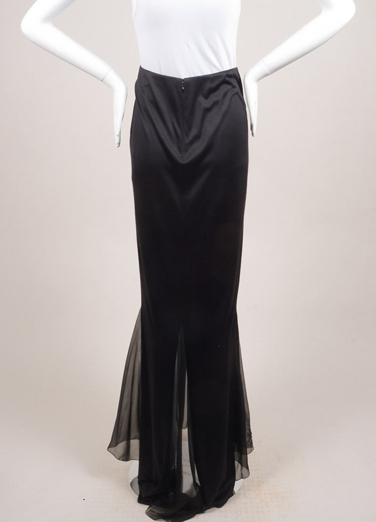 Chanel Black Silk Sheer Chiffon Insert Maxi Skirt Backview