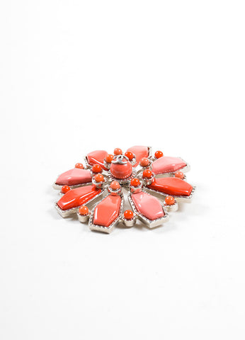 Chanel Red and Pink Geometric Enamel Oversized Brooch Sideview