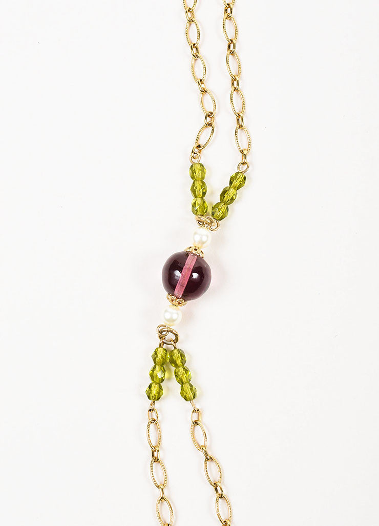 Gold Toned, Turquoise, and Purple Beaded Chanel 'CC' Pendant Chain Belt Necklace Detail 2