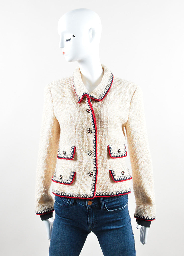 Chanel Cream, Red, and Navy Tweed Embellished Button Jacket Frontview 2