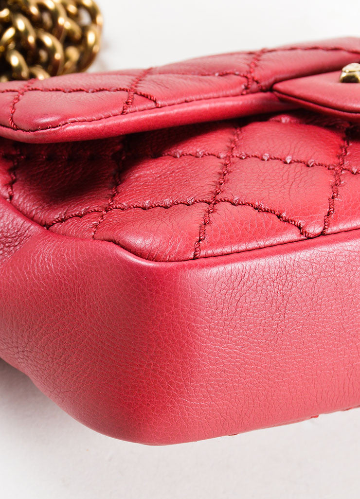 Chanel Red Leather Chain Strap Flap Crossbody Bag Detail
