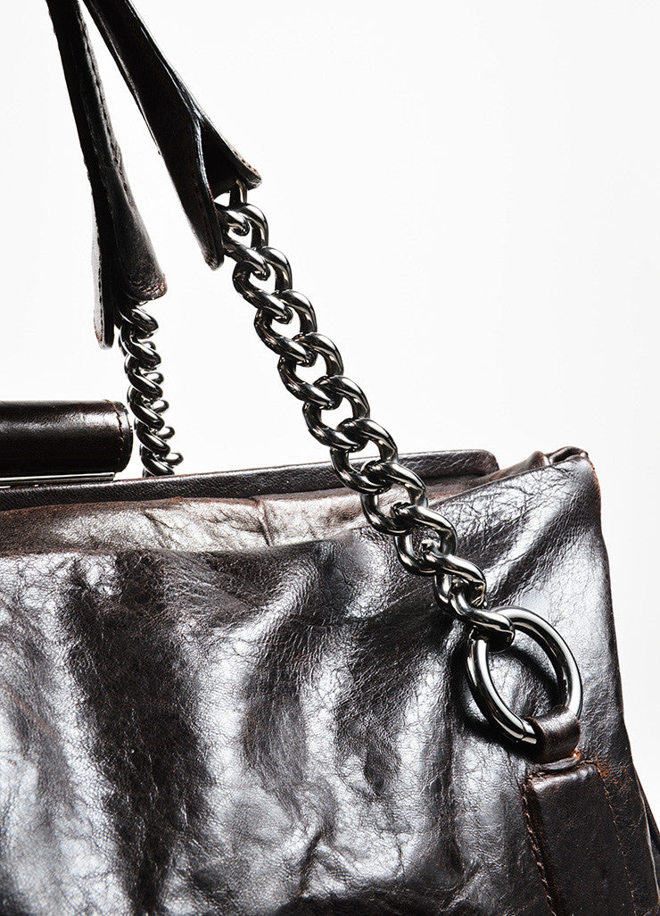 "Dark Brown Chanel Leather Quilted ""Perfect Day"" Tote Bag Detail 2"