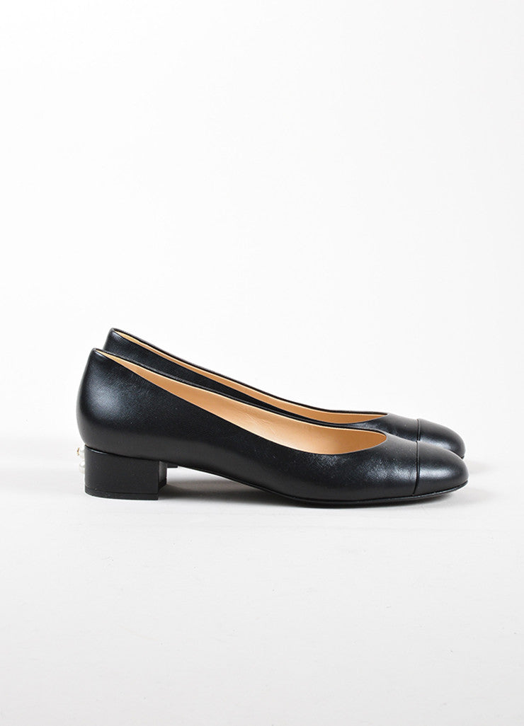 "Chanel Black Leather Faux Pearl ""CC"" Chunky Low Heel Pumps Sideview"