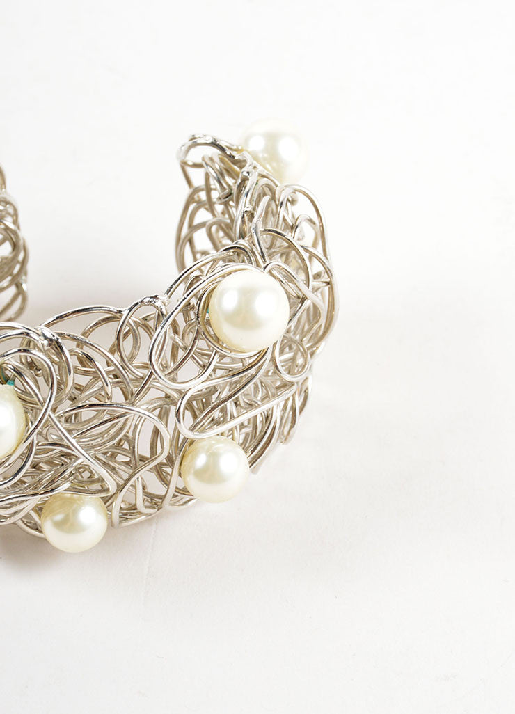 Chanel Silver Toned and Faux Pearl Wire Cuff Bracelet Detail