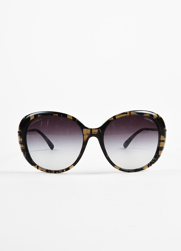 Chanel Black and Beige Pave Crystal Encrusted Gradient Tinted Sunglasses Frontview