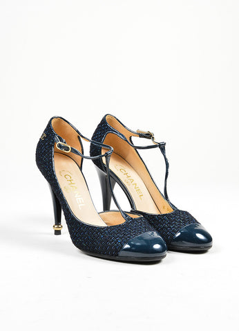 Black and Blue Chanel Woven Tweed Patent Leather Cap Toe T-Strap Pumps Frontview