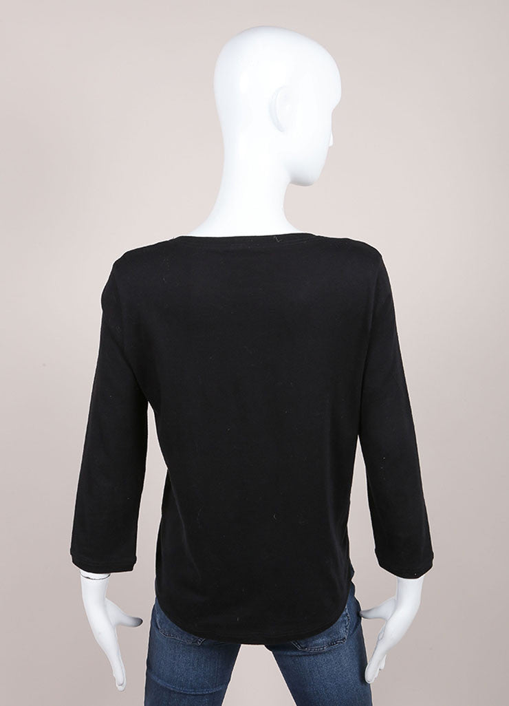 Chanel Black Front Cut Out Medallion Top Backview