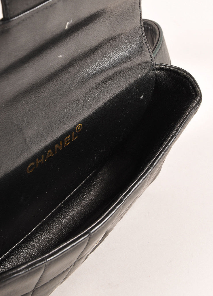 "Chanel Black Lambskin Leather Square Quilted ""CC"" Logo Waist Bag Belt Interior"