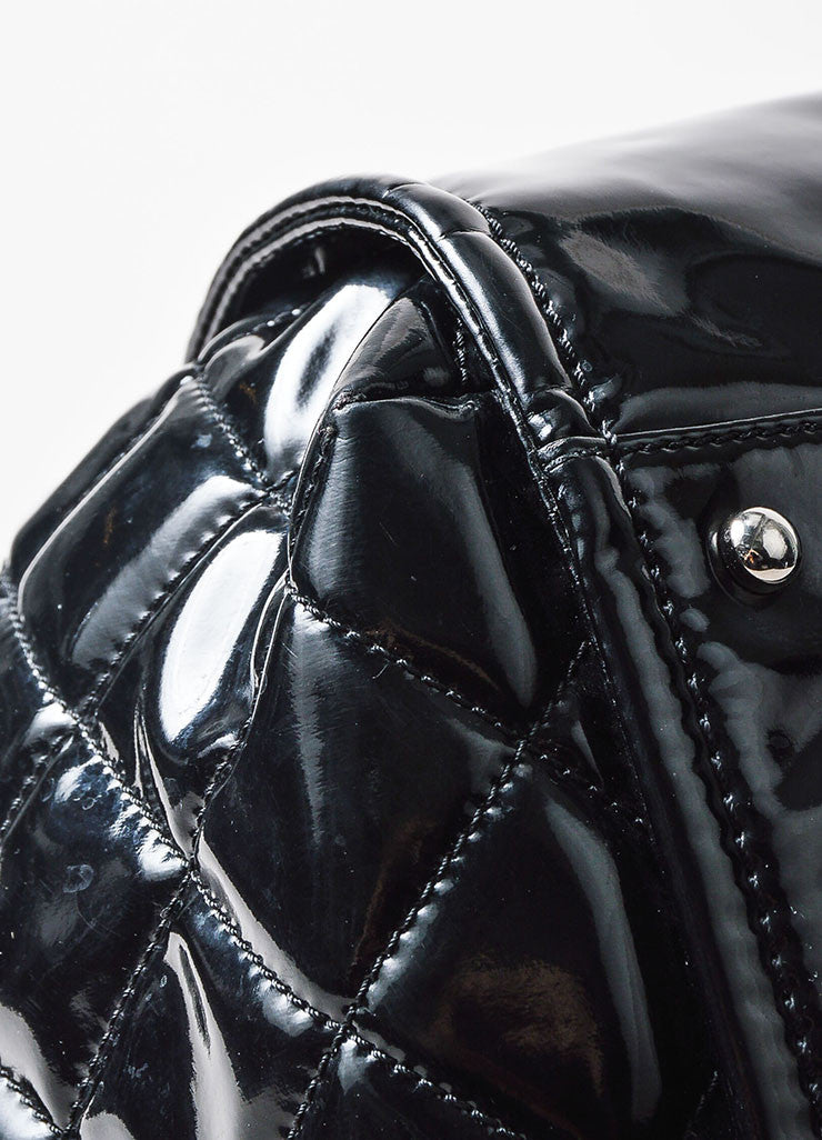 "Chanel Black Patent Leather 'CC' Embroidered ""Lipstick Ligne Large Tote"" Handbag Detail"