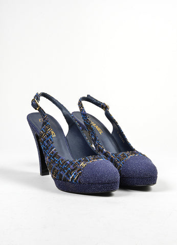 Blue, Brown, and Gold Chanel Tweed Glitter Cap Toe 'CC' Slingback Pumps Frontview