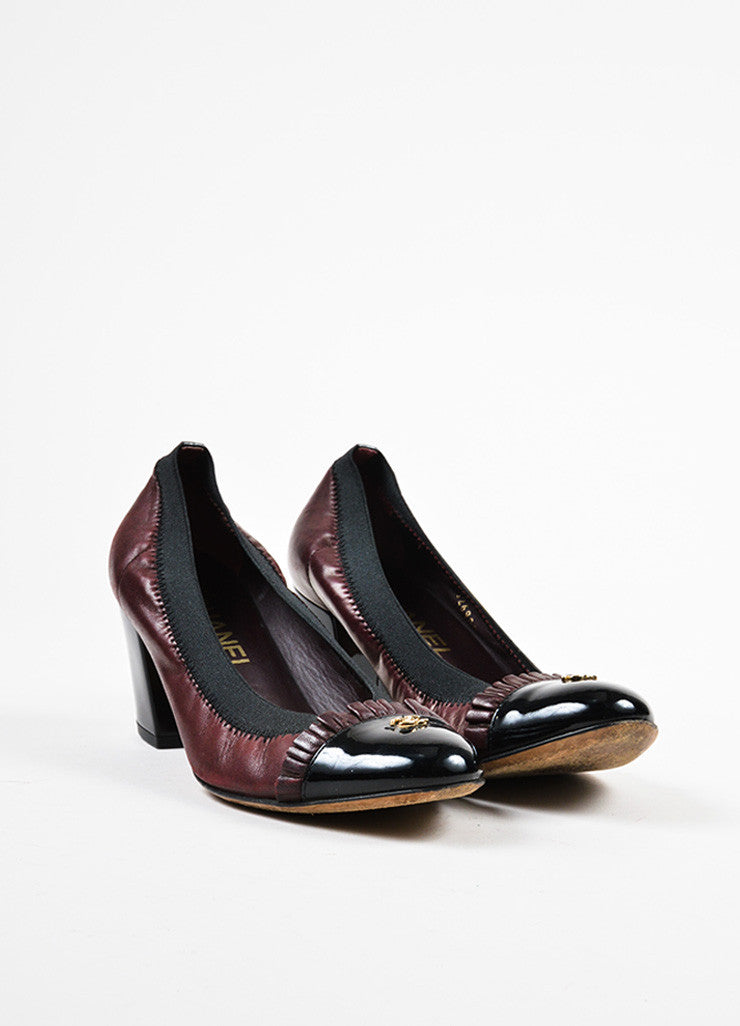 Chanel Maroon Black Leather Patent Trim Ruffle Almond Cap Toe Pumps Frontview