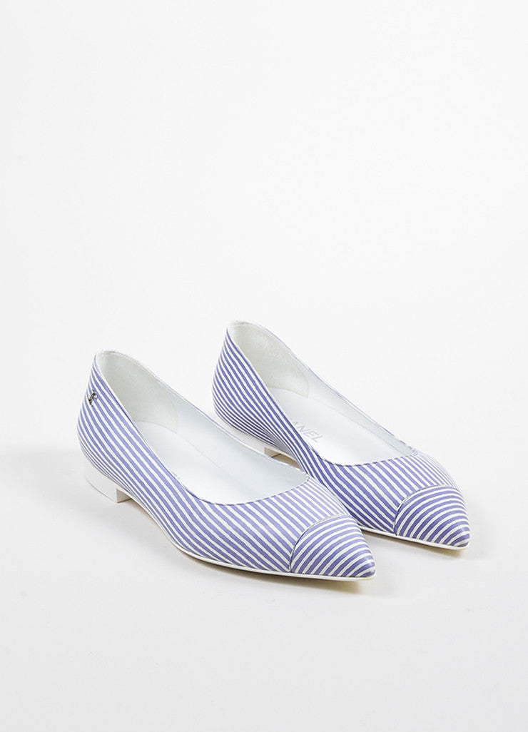 Chanel Blue and White Striped Leather Pointed Toe 'CC' Low Heel Flats frontview