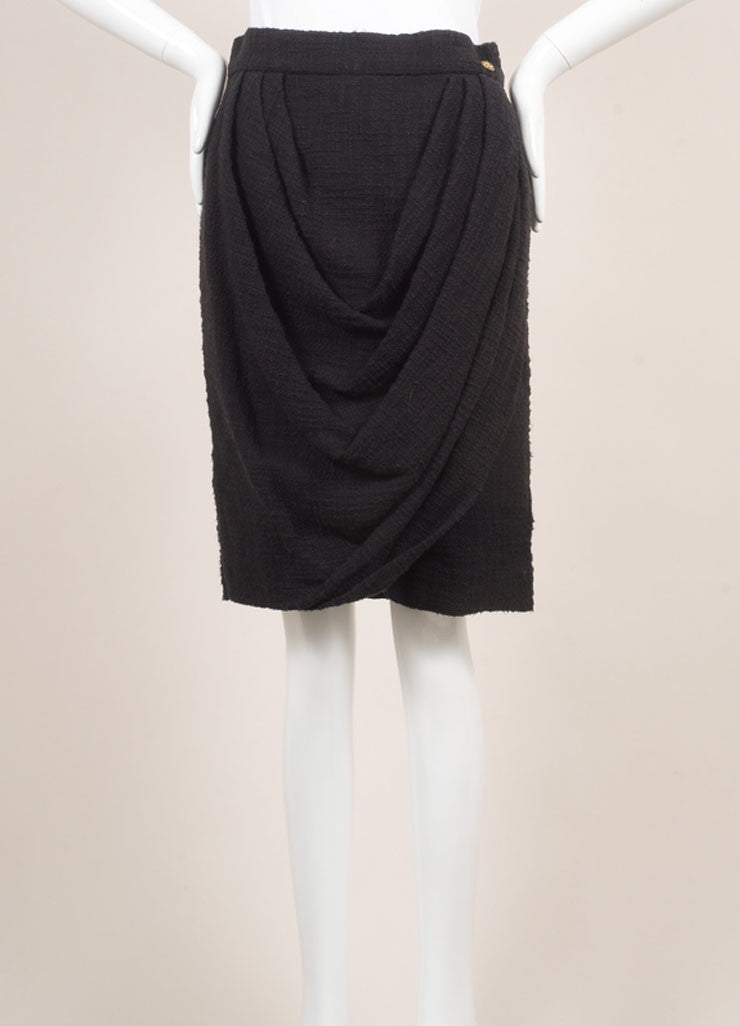 Chanel New With Tags Black Cotton Tweed Draped Pencil Skirt Frontview