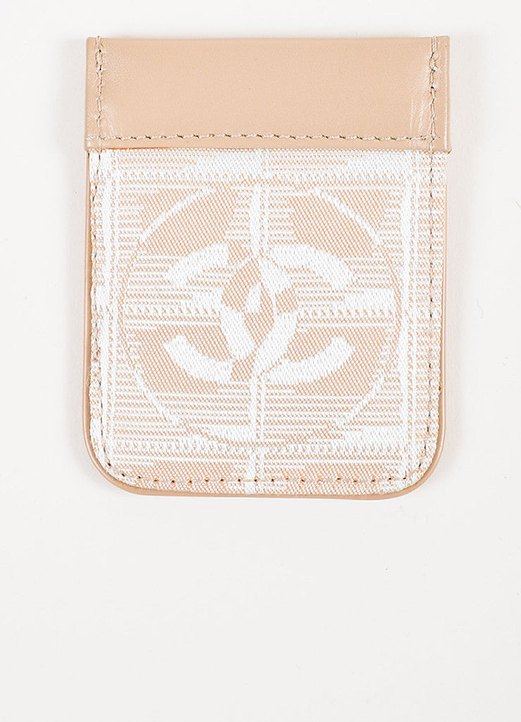Chanel Nude Leather White Woven Silk 'CC' Logo Card Holder Frontview