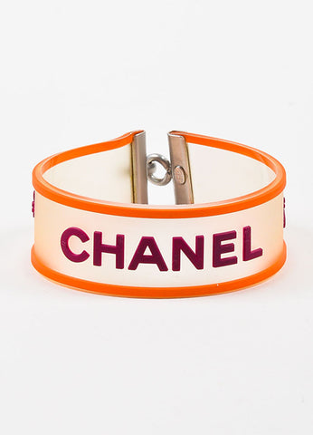 Silver Tone, Orange, and Purple Chanel Rubber Transparent Strap Bracelet Frontview