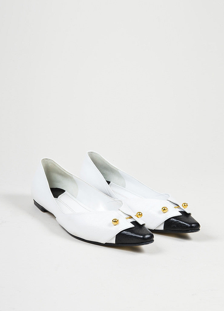 White, Black, and Gold Toned Chanel Tuxedo Collar Barbell Flats Frontview