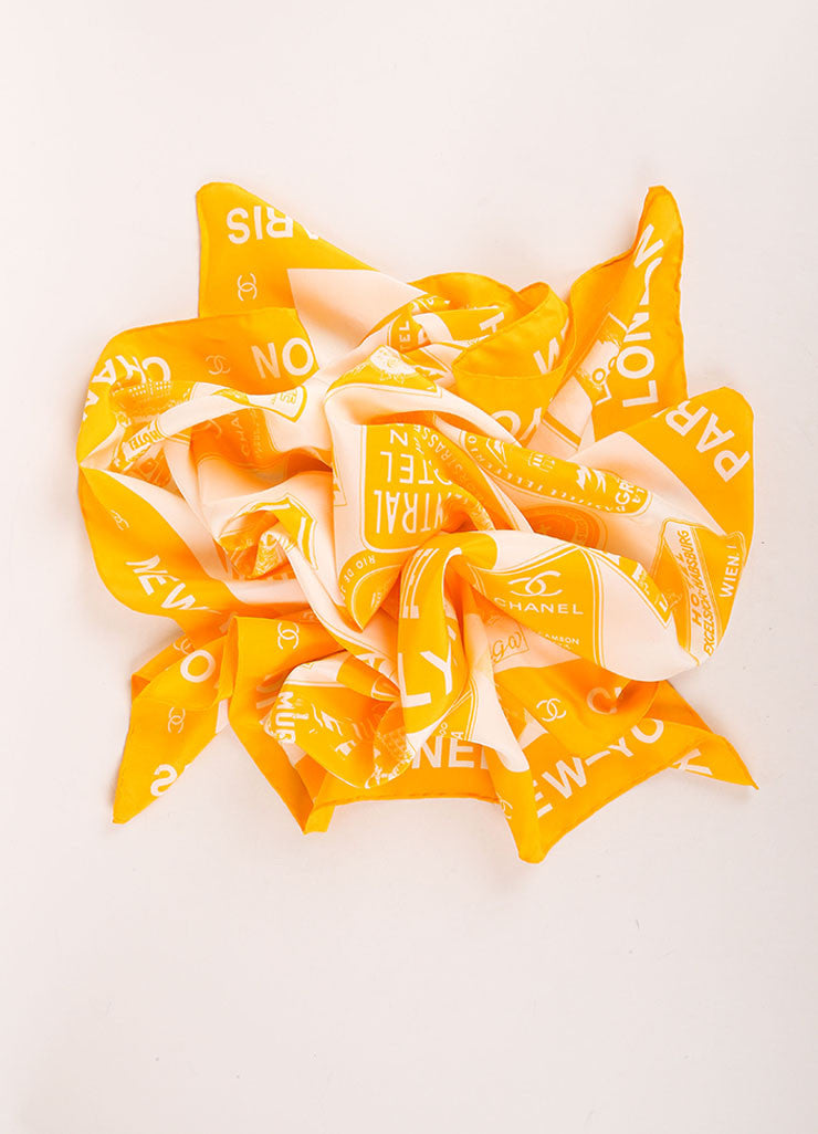 Chanel Yellow and White Silk Graphic City Print Scarf Frontview