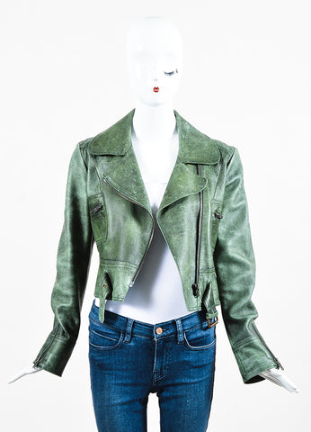 Hunter Green Chloe Distressed Leather Zip Up Crop Moto Jacket Front