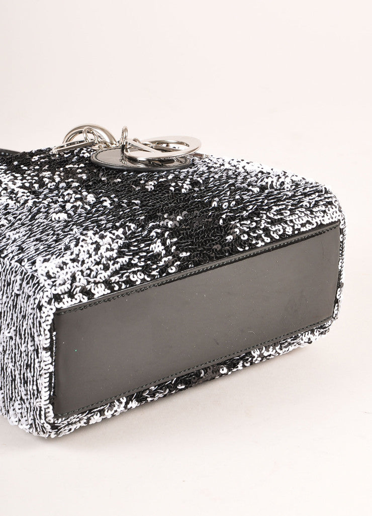 "Christian Dior Black and White Sequin and Patent Leather Small ""Lady Dior"" Bag Bottom View"