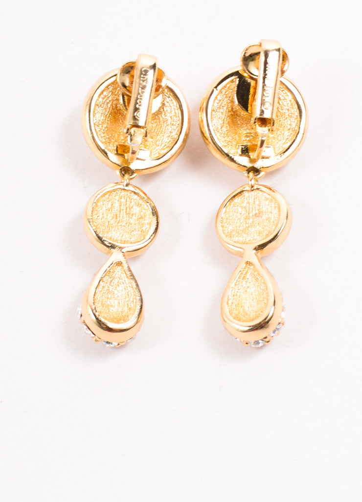 Christian Dior Gold Toned Pave Rhinestone Embellished Round Drop Earrings Backview