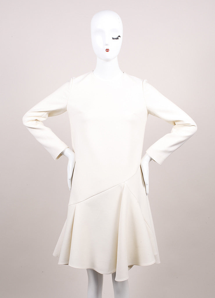 Christian Dior New With Tags Cream Crop Waist Stretch Wool Long Sleeve Flounce Dress Frontview