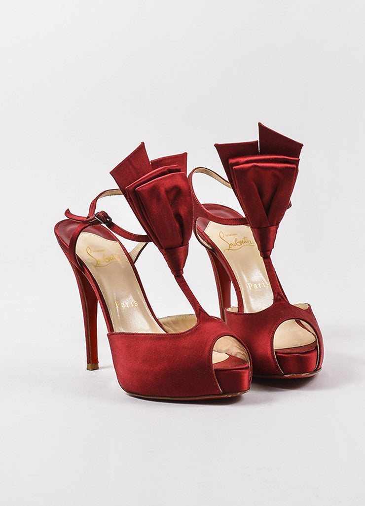 "Christian Louboutin Red Satin Peep Toe ""Ernesta Bow"" T-Strap Pumps Frontview"