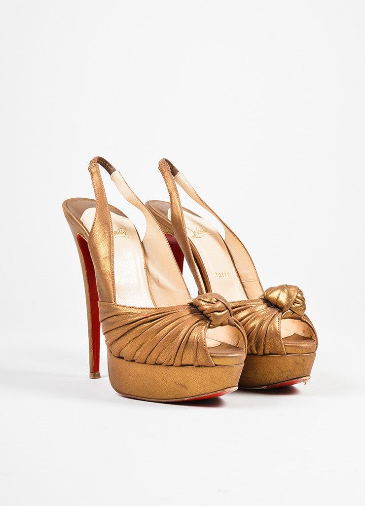 "Bronze Leather Christian Louboutin ""Jenny"" Peep Toe Platform Pumps Frontview"