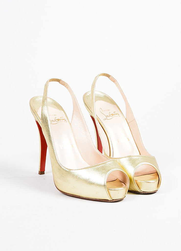 "Christian Louboutin Gold Leather Slingback Peep Toe ""No Prive"" Pumps Frontview"