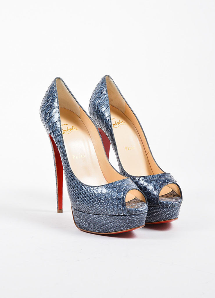 "Christian Louboutin Denim Blue Snakeskin ""Lady Peep 150"" Pumps Frontview"