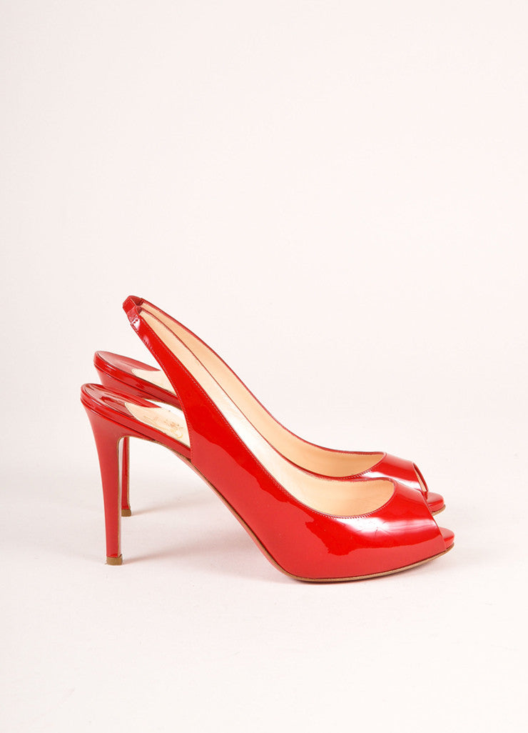Christian Louboutin Red Patent Leather Peep Toe Slingback Pumps Sideview