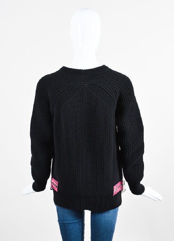 Christopher Kane Black and Fuchsia Knit Snakeskin Print Trim Zip Detail Sweater Backview