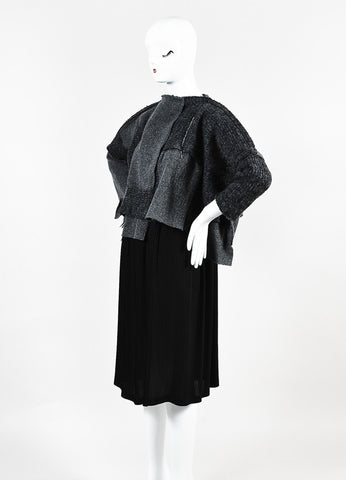 Comme Des Garcons Grey and Black Wool Knit Patchwork Pleated Skirt Dress Sideview