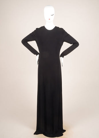 Cushnie et Ochs Black Jersey Faux Pearl Trim Full Length Long Sleeve Gown Frontview