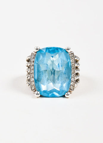 "Sterling Silver, Blue Topaz, and Pave Diamond David Yurman ""Wheaton"" Ring  Frontview"