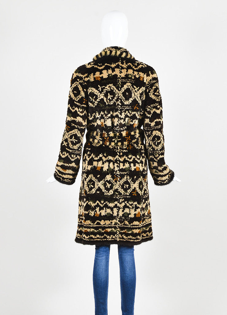 Dennis Basso Brown Multicolor Patterned Belted Fur Coat with Scarf Backview