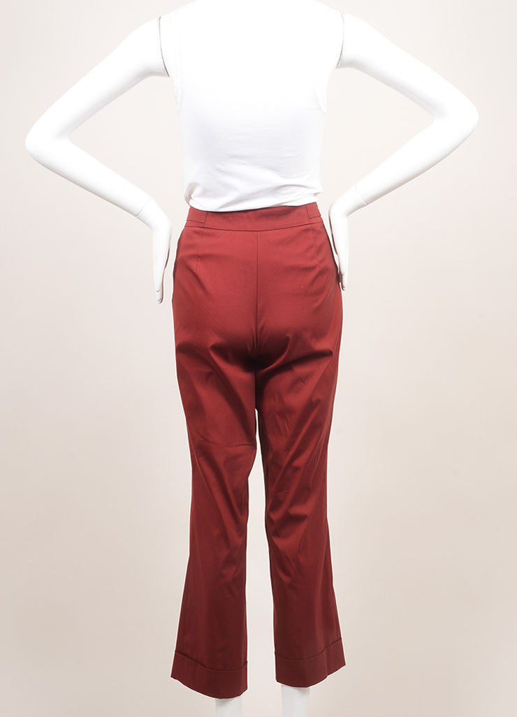 Derek Lam New With Tags Dark Red Cuffed and Crop Stretch Cotton Wide Leg Trousers Backview